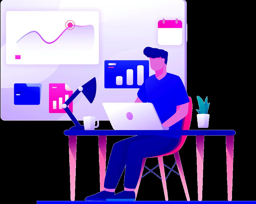 man sitting on desk vector graphic