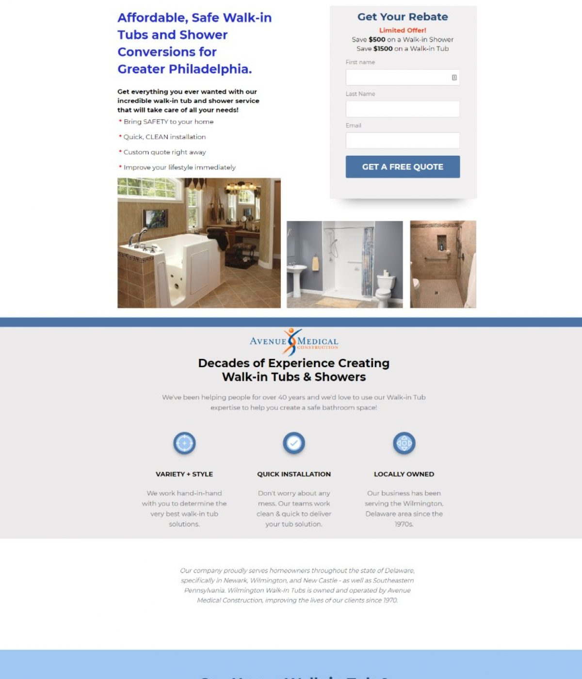 bathroom conversions landing page by mtb strategy