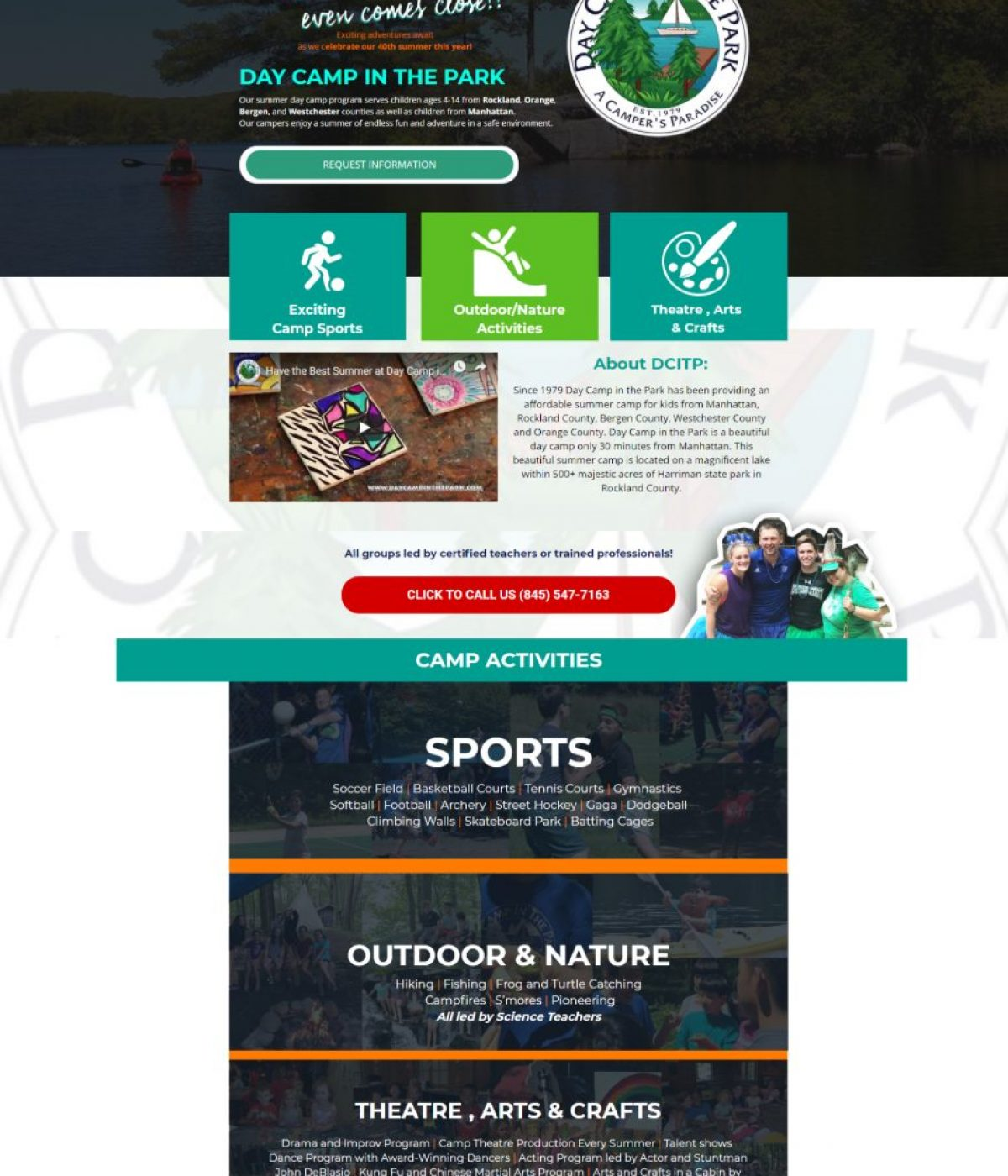 daycamp in the park landing page by mtb strategy