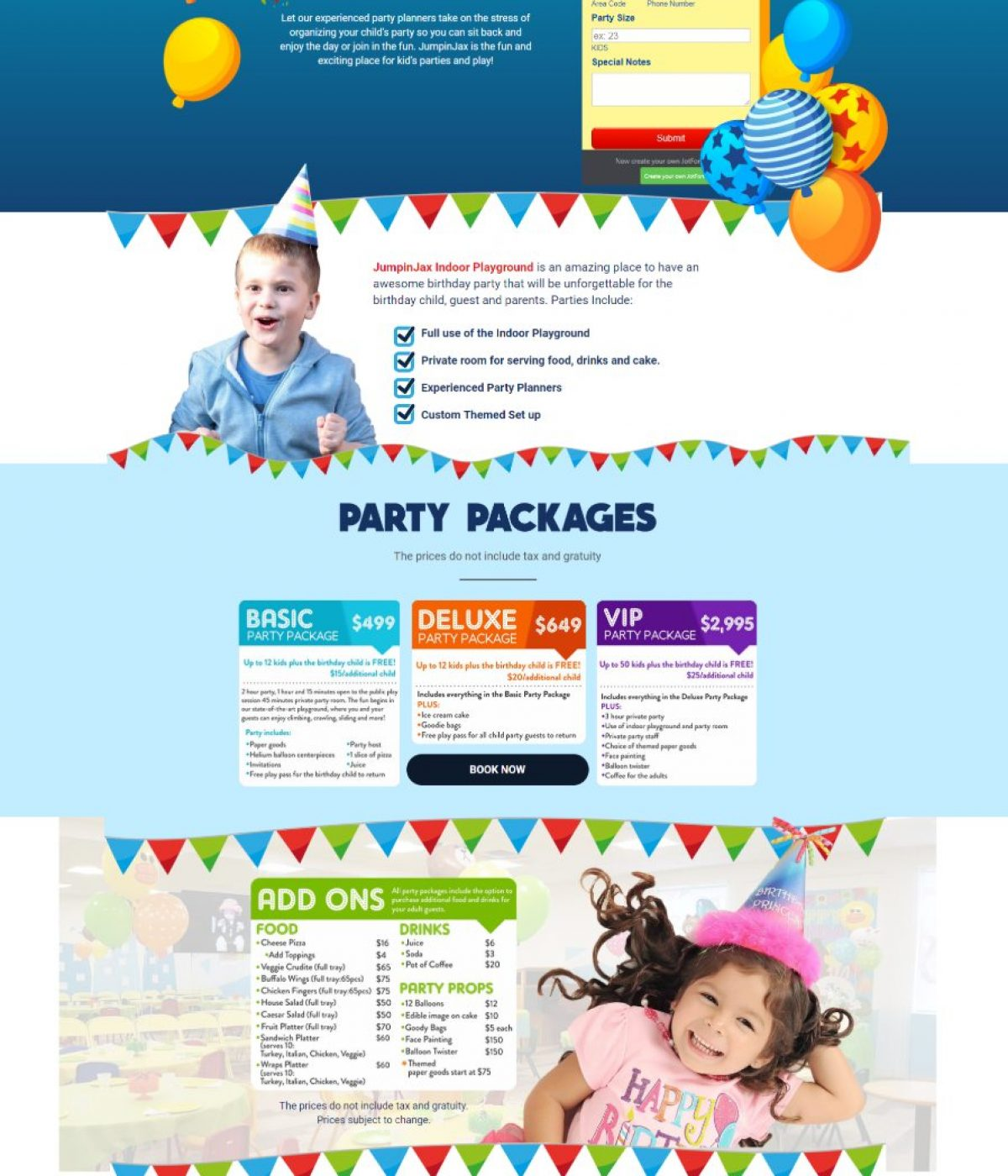 jumpinjax birthday party landing page by mtb strategy