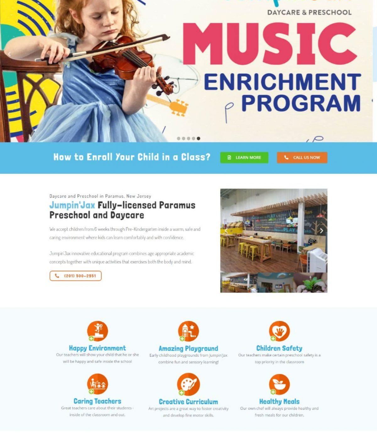 jumpin jax paramus daycare website by mtb strategies